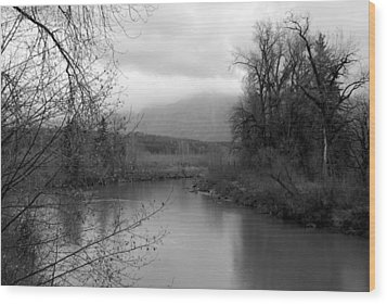 Wood Print featuring the photograph At The River Turn Bw by Kathleen Grace