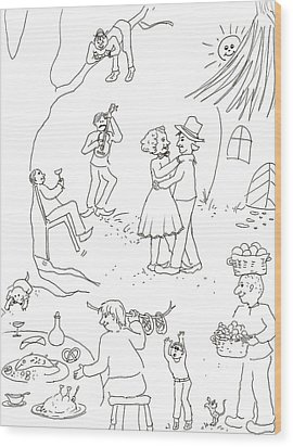 At The Wedding Wood Print by Vass Eva Rozsa