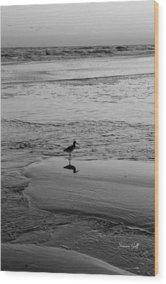 At Twilight In Black And White Wood Print by Suzanne Gaff