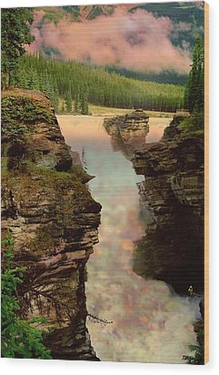 Athabasca Falls Evening Wood Print by Shirley Sirois