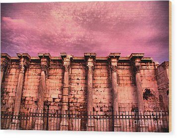Athens - The Library Of Hadrian Wood Print by Hristo Hristov