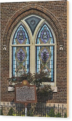 Athens Alabama First Presbyterian Church Stained Glass Window Wood Print by Kathy Clark