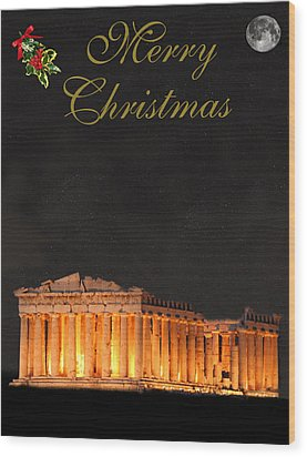 Athens Merry Christmas Wood Print by Eric Kempson