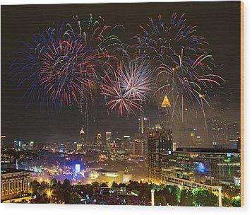 Wood Print featuring the photograph Atlanta Fireworks by Anna Rumiantseva