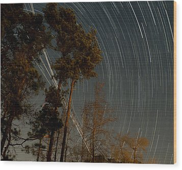 Wood Print featuring the photograph Atlanta Star Trails by Ray Devlin