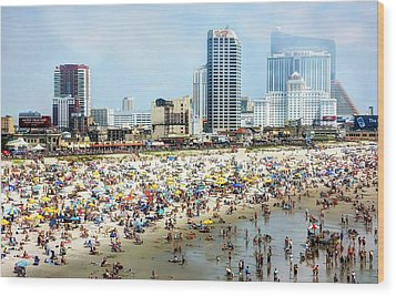 Atlantic City Beach Wood Print by John Loreaux