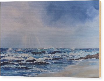 Atlantic Waves Wood Print by Margaret Denholm
