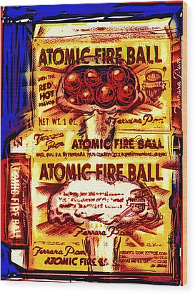 Atomic Fire Ball Wood Print by Russell Pierce