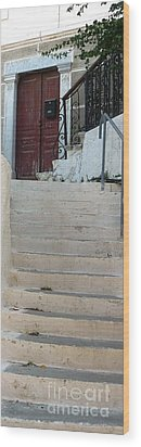 Atop The Stairs Wood Print by Therese Alcorn
