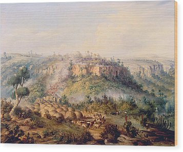 Attack On Stocks Kraall In The Fish River Bush Wood Print by Thomas Baines