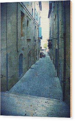 Auch-small Street Wood Print by Sandrine Pelissier
