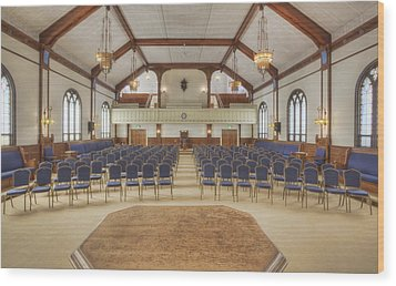 Auditorium With Blue Chairs And A Stage Wood Print by Douglas Orton