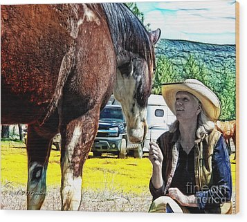 Wood Print featuring the digital art Audrey And The Paint by Rhonda Strickland