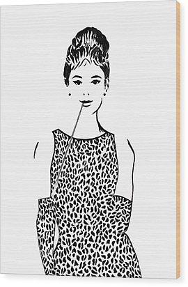 Audrey Hepburn Wood Print by Georgeta  Blanaru