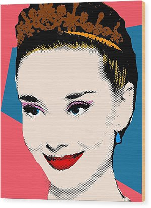 Audrey Hepburn Pop Art Coral Blue Wood Print by Bao Studio