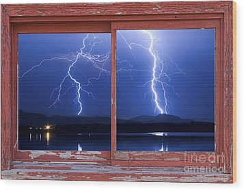 August 5th Lightning Storm Red Picture Window Frame Photo Art Wood Print by James BO  Insogna