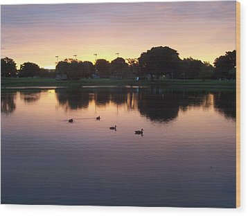 Wood Print featuring the photograph August Sunset by Sheila Silverstein