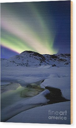 Aurora Borealis Over Mikkelfjellet Wood Print by Arild Heitmann