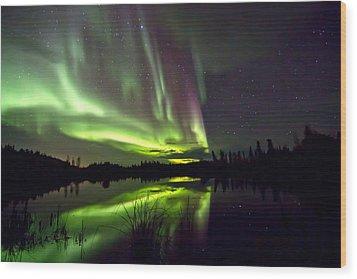 Aurora Rain Wood Print