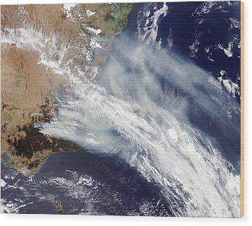 Australian Bush Fire Smoke Wood Print by Nasa