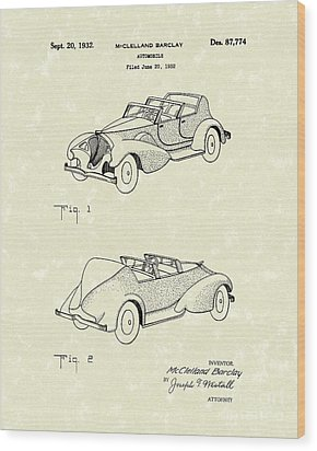 Automobile Mccelland Barclay 1932 Patent Art Wood Print by Prior Art Design