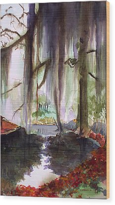 Wood Print featuring the painting Autum Bayou by Richard Willows