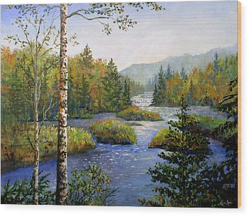 Wood Print featuring the painting Autum In Michigan by Lou Ann Bagnall