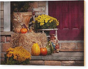 Autumn - Gourd - Autumn Preparations Wood Print by Mike Savad