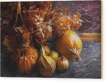 Autumn - Gourd - Still Life With Gourds Wood Print by Mike Savad