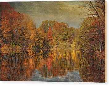 Autumn - Landscape - Tamaques Park - Autumn In Westfield Nj  Wood Print by Mike Savad