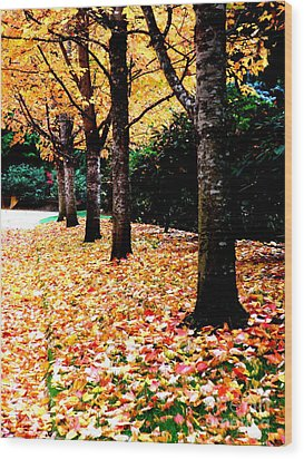 Autumn Alley  5 Wood Print by Tanya  Searcy