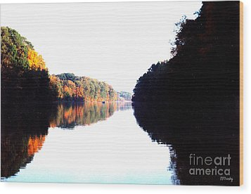 Autumn At Dusk From A Canoe Wood Print