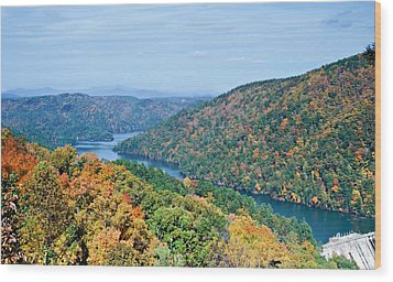 Wood Print featuring the photograph Autumn At Lake Tugalo by Susan Leggett