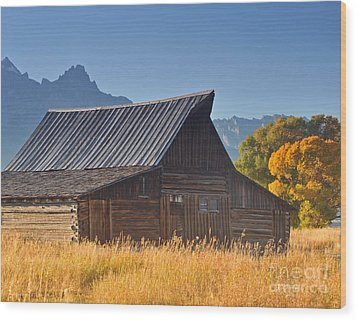Autumn At The Barn Grand Teton National Park Wood Print by Nature Scapes Fine Art