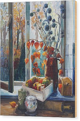 Autumn At The Kitchen Window Wood Print by Barbara Pommerenke
