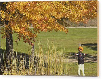 Wood Print featuring the photograph Autumn At The Schoolground by Mick Anderson