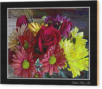 Wood Print featuring the digital art Autumn Boquet by Debbie Portwood