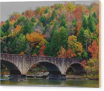 Autumn Bridge 2 Wood Print