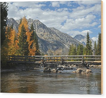 Autumn Bridges Grand Teton National Park Wood Print by Nature Scapes Fine Art