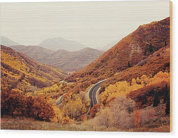 Autumn Colored Trees Along Mountain Road Wood Print by Www.julia-wade.com