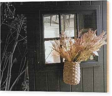 Autumn Door Wood Print by Lois Lepisto