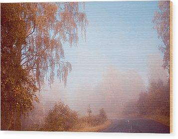 Autumn Fairytale. Misty Roads Of Scotland  Wood Print by Jenny Rainbow
