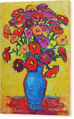 Autumn Flowers Zinnias Original Oil Painting Wood Print by Ana Maria Edulescu