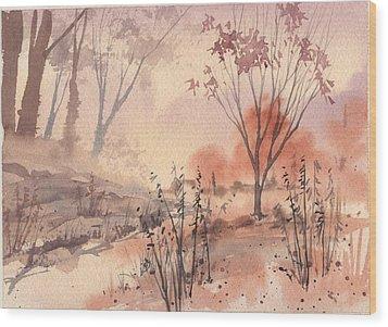 Autumn Fog Wood Print by Linda Eades Blackburn
