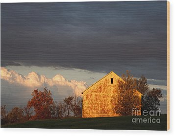 Wood Print featuring the photograph Autumn Glow With Storm Clouds by Karen Lee Ensley