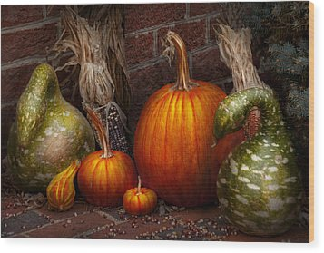 Autumn - Gourd - Family Get Together Wood Print by Mike Savad