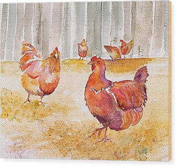 Autumn Hens Wood Print by Carolyn Doe