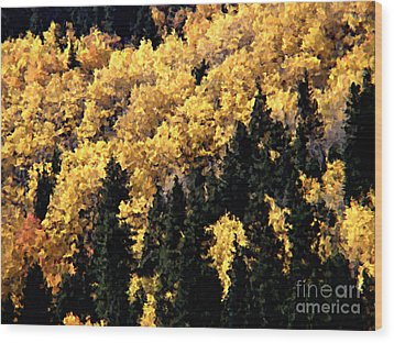 Autumn In Colorado Painting Wood Print by Donna Greene