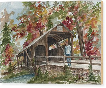 Wood Print featuring the painting Autumn In Knoebels Grove  by Nancy Patterson