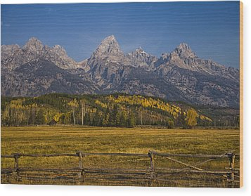 Autumn In The Tetons Wood Print by Andrew Soundarajan
